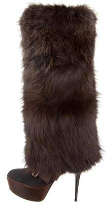 Marni Fur-Trimmed Knee-High Boots Black Fur-Trimmed Knee-High Boots