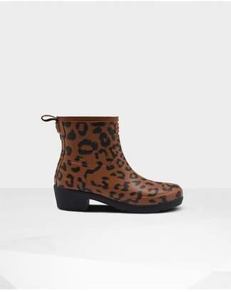 Hunter Womens Original Leopard Print Refined Low Heel Ankle Boots