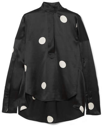 Petar Petrov Eve Polka-dot Silk-satin Blouse - Black