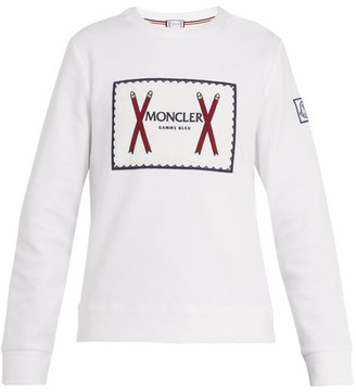 Moncler Gamme Bleu Embroidered Logo Cotton Blend Sweatshirt - Mens - White