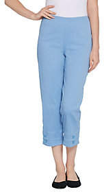 "Denim & Co. How Timeless"" Pull-on Crop Pants w/Button Detail"