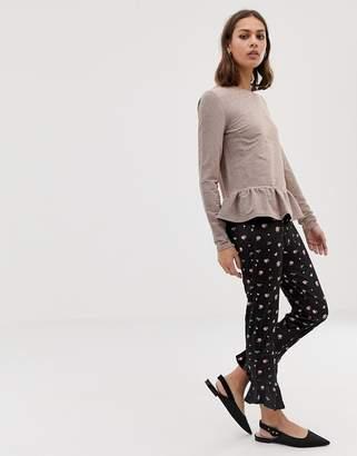 Asos Design DESIGN velvet ruffle skinny trouser in ditsy print