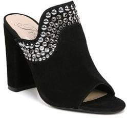 Fergie Lillie Studded Crystal Suede Mules