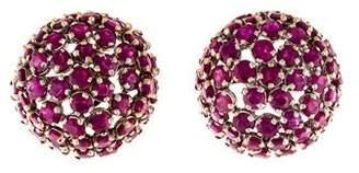 18K Ruby Dome Earrings