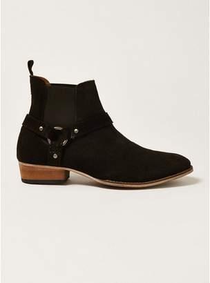 Topman Mens Black Suede Mount Harness Boots