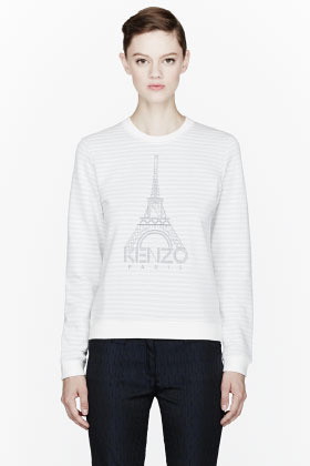 Kenzo Ivory striped silver Eiffel Tower embroidered sweatshirt