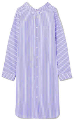 Balenciaga Oversized Striped Cotton-poplin Shirt Dress - Blue