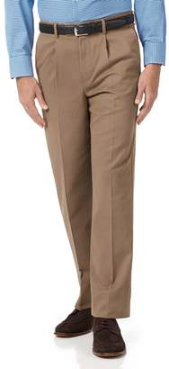 Charles Tyrwhitt Tan Classic Fit Single Pleat Non-Iron Cotton Chino Trousers Size W32 L32