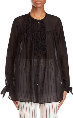 Alysi Black Ruffled Tunic