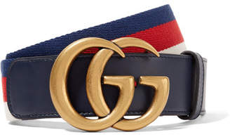 Gucci Striped Canvas And Leather Belt - Navy