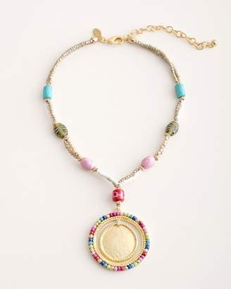 Chico's Chicos Short Colorful Seed Bead Pendant Necklace