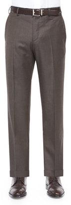 Zanella Parker Platinum Flat-Front Super 150's Trousers, Brown $535 thestylecure.com