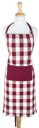 "Design Imports Wine Heavyweight Check Fringed Chef Kitchen Apron, 32""x28"", 100% Cotton, Red"