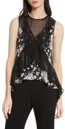 Cinq à Sept Simone Ruffled Sleeveless Silk Top