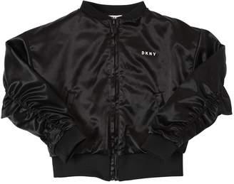 DKNY Logo Satin Bomber Jacket