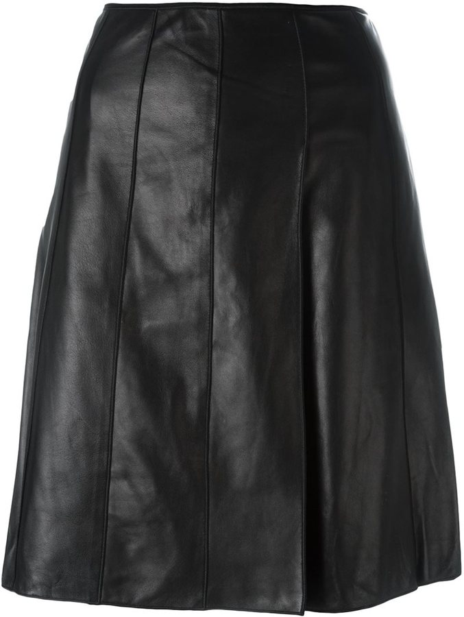 A-line Leather Skirt - ShopStyle Australia