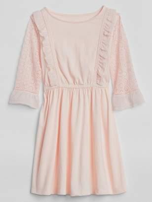 Gap Eyelet-Sleeve Ruffle Dress