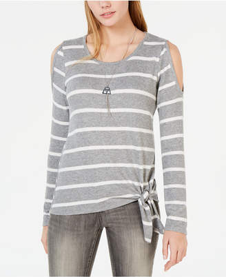 BCX Juniors' Striped Tie-Hem Cold-Shoulder Sweater