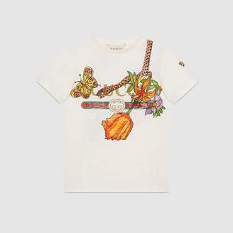 Gucci Children's and Flora Snake print T-shirt