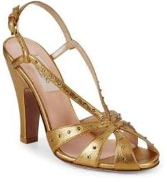 Valentino Embellished Metallic Leather Sandals