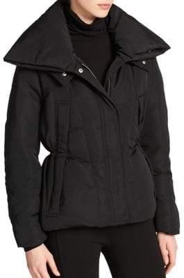 Donna Karan Short Puffer Hooded Coat
