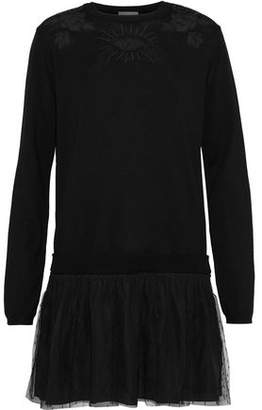 RED Valentino Embroidered Tulle-trimmed Wool And Point D'esprit Mini Dress