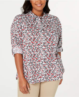 Tommy Hilfiger Plus Size Printed Cotton Roll-Sleeve Shirt