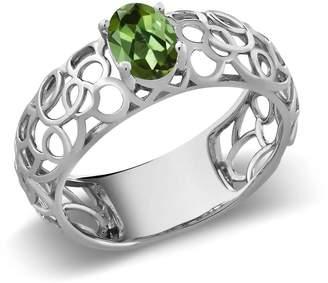 Celtic Gem Stone King 0.70 Ct Oval Tourmaline 925 Sterling Silver Filigree Ring