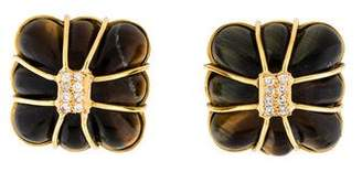 Kara Ross 18K Tiger's Eye & Diamond Clip-On Earrings