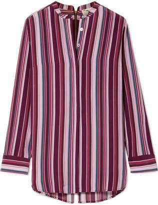 Figue Monique Pompom-embellished Striped Silk Crepe De Chine Shirt - Purple