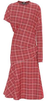 Calvin Klein Asymmetric plaid midi dress