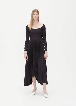 Awake Button Detail Pleated Dress