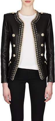 Balmain Women's Chain-Embellished Leather Double-Breasted Jacket