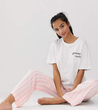 Asos DESIGN Petite mix & match stripe pyjama pants in 100% modal