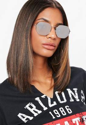 Missguided Silver Multi Edge Circle Sunglasses