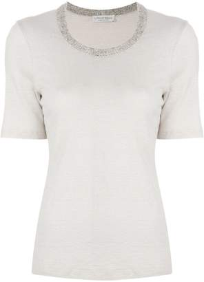Le Tricot Perugia knitted collar half sleeve tee