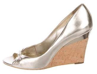 Gucci Metallic Leather Peep-Toe Wedge Pumps