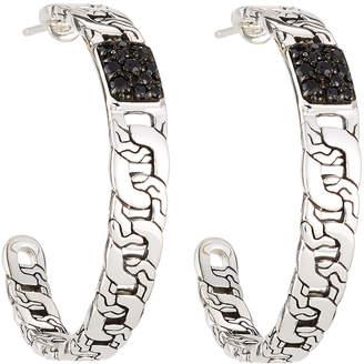 John Hardy Batu Classic Chain Black Sapphire Large Hoop Earrings
