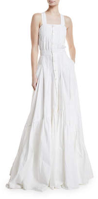 Ralph Lauren Brooke Button-Front Poplin Gown