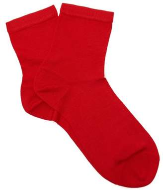 Maria La Rosa - Silk Blend Ankle Socks - Womens - Red