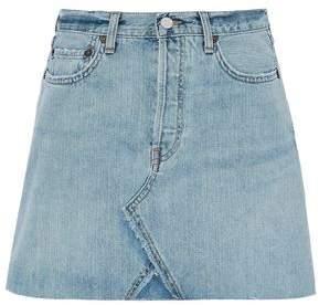 Re/Done By Levi's Distressed Denim Mini Skirt
