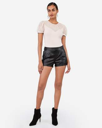 Express Mid Rise Vegan Leather Pleated Shorts