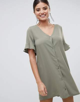 PrettyLittleThing Button Front Ruffle Sleeve Shift Dress