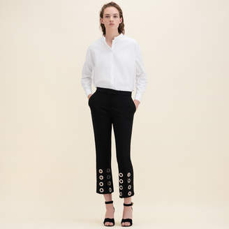 Maje Straight-cut crêpe trousers with eyelets