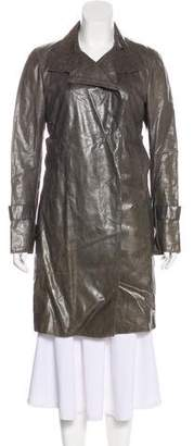 CNC Costume National Distressed Leather Coat
