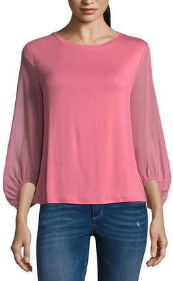 TDC T.D.C Puffed Sleeve Knit-To-Woven Blouse