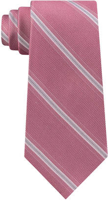 Calvin Klein Men's Creme Stripe Slim Silk Tie
