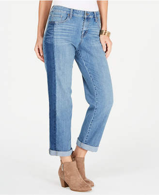 Style&Co. Style & Co Colorblocked Cropped Boyfriend Jeans