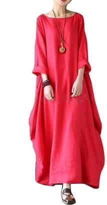Suvotimo Women Elegant Scoop Neck Cotton And Linen Baggy Maxi Dress Plus Size 5XL