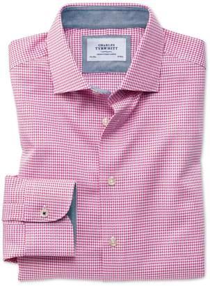 Charles Tyrwhitt Slim Fit Semi-Spread Collar Business Casual Non-Iron Modern Textures Pink Puppytooth Cotton Dress Shirt Single Cuff Size 15/33